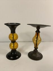"""Antiqued Brass And Light Amber Colored Glass Candle Holders - 8.5"""" Inches Tall"""