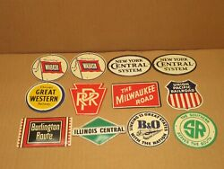 12 Vintage Post Cereal Small Tin Railroad Signs Giveaway Boxes 1950's