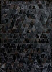 Handmade Leather Cowhide Patchwork Rug Solid Black Triangle Cowhide Size 5x8 Ft