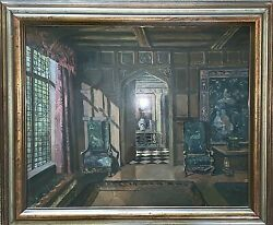 Antique Oil Impressionist Jacobean Castle Interior W White And Blue Chinese Vase