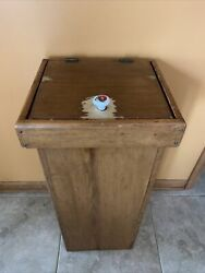 """Vintage Wood Kitchen Trash Can Covered Lid 31.5"""" Tall 14 X 12.75 Top"""