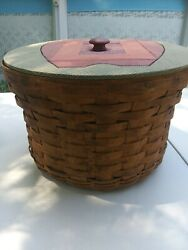 Longaberger Woven Traditions Large Basket With Apple Applique Wooden Lid
