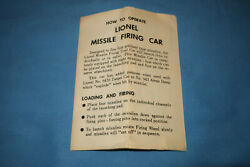 Original Lionel Instructions For 6544 Missile Firing Car. Dated 6-60