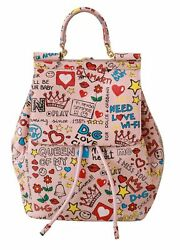 Dolce And Gabbana Bag Womenand039s Pink Multicolor Leather Backpack Purse