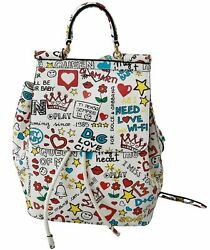 Dolce Andamp Gabbana Bag Womenand039s White Multicolor Leather Backpack Sicily Purse