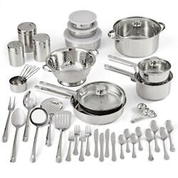 Stainless Steel Cookware Set Kitchen Tools Flatware Pots Pans Utensils Canister