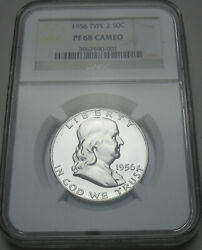 1956 P Franklin Silver Half Dollar Ty2 Ngc Proof 68 Cameo Uncirculated