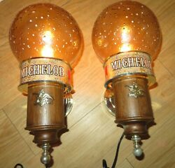Two Vintage 1970's Michelob Beer American Heritage Wall Lamps Sconces Nos In Box