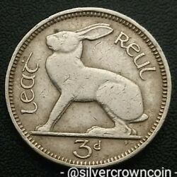 Ireland, Eire 3 Pence 1943. Km12a. Three Cents Coin. Hare. Rabbit. Animals. H