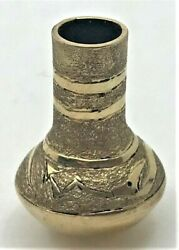 Solid 14k Yellow Gold Miniature Native American Pot Pottery Snake Signed Wb