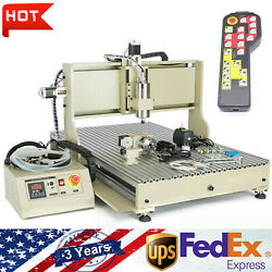 Usb 4 Axis Cnc 6090t Router Engraver Carving Mill Machine 2200w With Handwheel