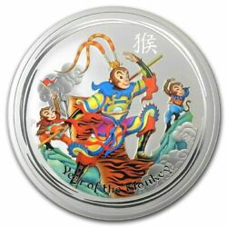 Only 61457 Minted 2016 Australian Colorized Monkey King 1 Oz Silver Coin