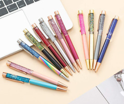 12pcs/lot Ballpoint Pen Bling Dynamic Crystal Quicksand Pens For Office Supplies