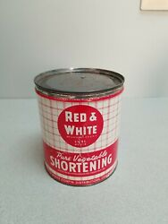 Red And White Vegetable Shortening Tin Can