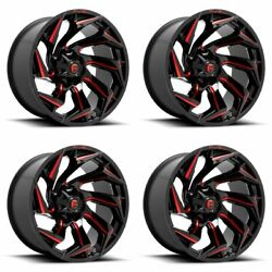 4x Fuel 22x10 D755 Reaction Wheels Gloss Black Milled Red 8x180 -18mm 4.79bs