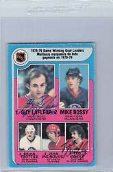 1979 Opc Hockey Leaders 7 Signed Guy Lafleur Ted Bulley Auto Autographed