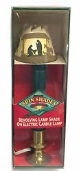 Vintage Nativity Spin Shades Revolving Lamp Shade On Electric Brass Candle Lamp