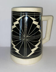 """Curras Brothers 1993 Ceramic Jug Signed 8"""" Cuban American Pottery Black And White"""