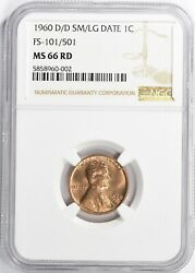 1960 D/d Fs-101/501 Sm/lg Ngc Ms66 Red Lincoln Memorial High Grade Only 3 Finer