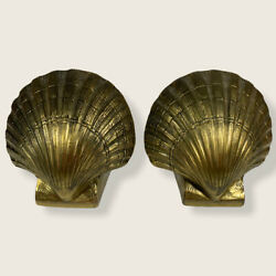 Vintage Pm Craftsman Heavy Solid Brass Scallop Shell Bookends