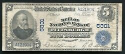 1902 5 Mellon National Bank Of Pittsburgh, Pa National Currency Ch. 6301 Vf