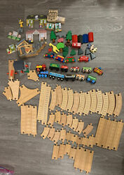 Brio Wooden Train Set And Thomas The Train Lot 50+ Pieces Tracks And Railway Cars