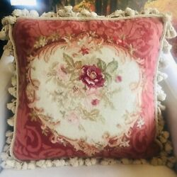 Vintage 18x18 Red/pink Floral Aubusson 100 Wool Embroidered Throw Pillow/insert
