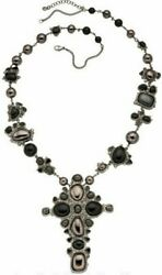Long Necklace 2008 Fall Black Pearl Strass Gripoix Cross Pendant 33andrdquo