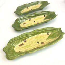 Vintage Corn Cob Dish Plate Set Of 3 Hand Painted Ceramic Butter Roller 9in