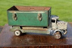Antique Pressed Steel Toy Delivery Truck Folk Art From Old Lunch Box Primitive