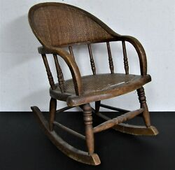 Antique Early American Bentwood Childs Cane Back Seat Rocking Chair Rocker