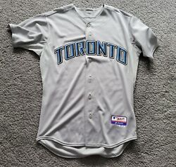 2009-2011 Authentic Majestic Cool Base Blue Jays Blank Road Jersey Sz 44 W/patch