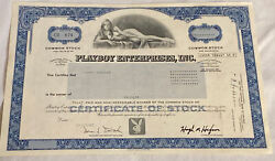 Official Vintage 1982 Playboy Enterprises 1 Stock Certificate Willy Rey Blue