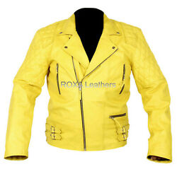 Brand New Menand039s Genuine Cow Hide Real Leather Jacket Yellow Biker Designer Coat