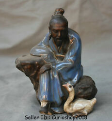 6 Antique Chinese Wu Cai Porcelain Pottery Seat Old Man Duck Statue Sculpture