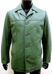 Menand039s Lambskin Authentic Real Leather Blazer Coat Green Custom Made Jacket