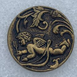 Antique Cherub Angel With Now And Arrow Cupid 1 1/8andrdquo Brass Button B68