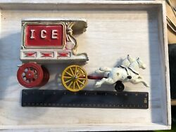 Vintage Cast Iron Toys Selling For Parts Horses And Ice Delivery Coach