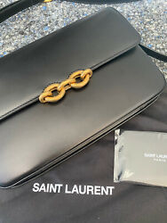 New Authentic Ysl Saint Laurent Le Maillon Satchel Bag In Smooth Leather 1990andeuro