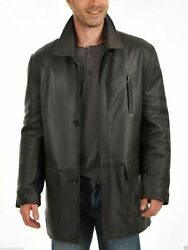 Urban Men Genuine Lambskin Real Leather Trench Short Coat Button Classic Jacket