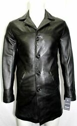 Urban Menand039s Sheepskin 100 Leather Casual Trench Long Black Coat Button Jacket