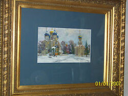 Original Gallery Oil On Paper Painting W/exquisite Gold Frame Signed