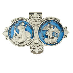 St Christopher And St Michael Medal Blue Enamel Guide And Protect Visor Clip