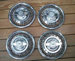 Vintage 4 Set 1962-1964 Chevy Ii Corvair Wire Spoke 2-bar Spinner 14 Hubcaps