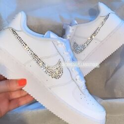Crystal Nike Air Force 1and039s In White With Customised Crystal Ticks