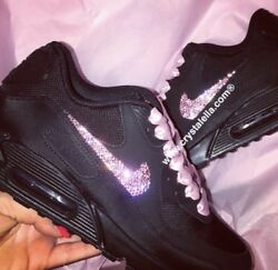 Crystal {nike Air Max 90}and039s In Black Nike Crystal Trainers Sneakers