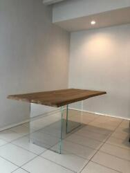 Table In Oak Solid Wood Legs Glass Various Sizes