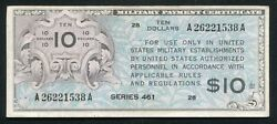 Series 461 10 Ten Dollars Mpc Military Payment Certificate Currency Noteandnbsp