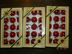 Pyramid Vintage Red Glass Shiny Christmas Ornaments 3 Boxes Of 15=45 Small
