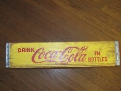 Vintage Coca Cola Coke Soda Pop Bottle Yellow Wood Divided Crate Box Carrier